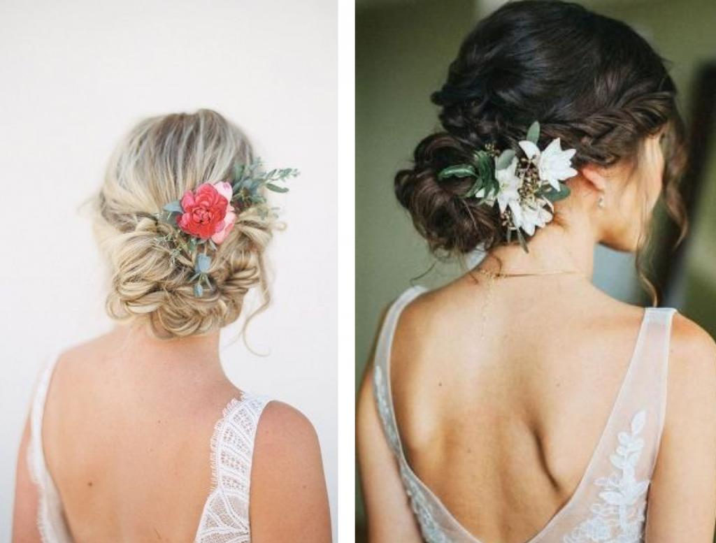 coiffure de mariage fleurs