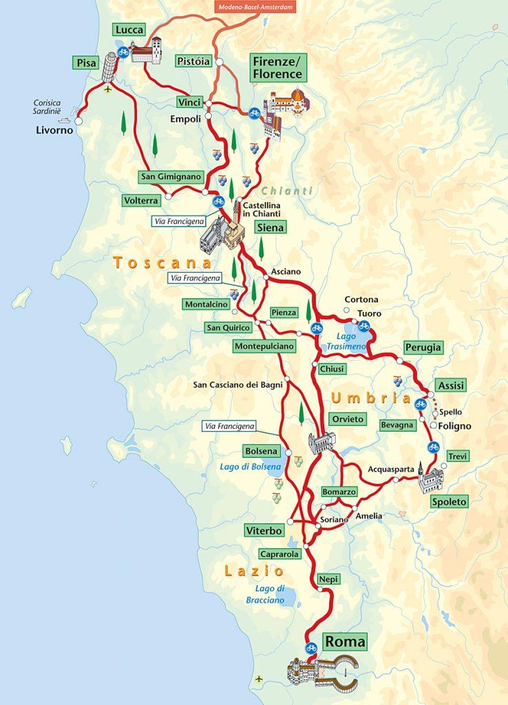 met de fiets op reis - fietsroute van Firenze tot Rome